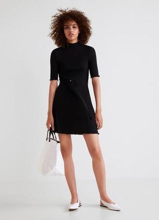 Черное платье с поясом mango / большая распродажа!