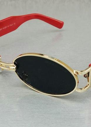 Gentle monster очки унисекс модные узкие овальные черные в золоте дужки красные