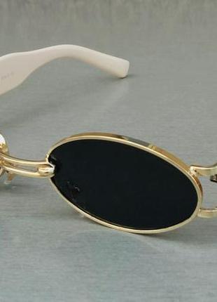 Gentle monster очки унисекс солнцезащитные модные узкие овальные черные в золоте дужки бежевые