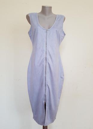 Стильное брендовое платье под замшу на молнии missguided