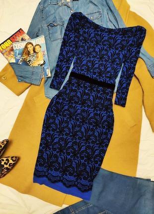 Next платье синее в черный цветочный принт миди карандаш футляр с велюровым поясом