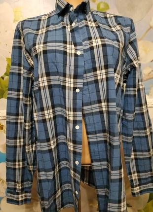 Батистовая рубашка в клетку  оверсайз м-xl