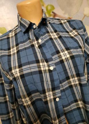 Батистовая рубашка в клетку  оверсайз м-xl4 фото