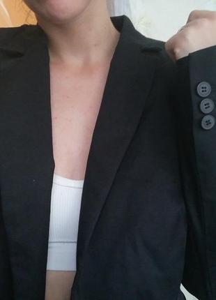 Пиджак жакет блейзер хлопок чёрный женский удлинённый коттон стильный esprit