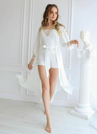 Пижама кружевная утро невесты, майка и шорты, нижнее белье для невесты, піжама