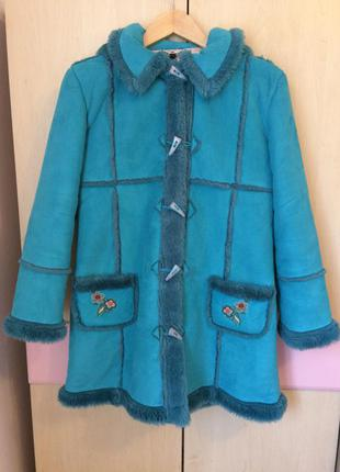 Дубленка шуба куртка иск мех рост 152 11-12 лет