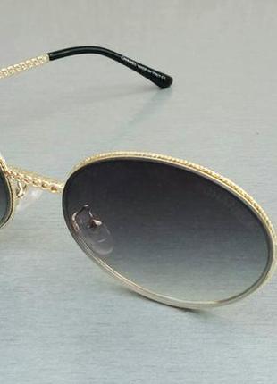 Chanel очки женские солнцезащитные модные овальные серый градиент в золотом металле