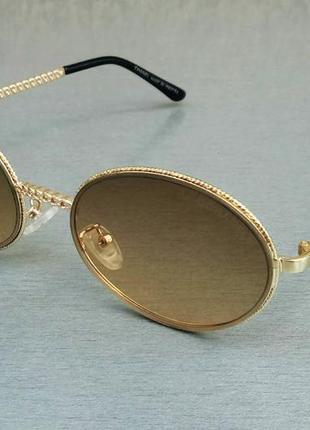 Chanel очки женские солнцезащитные модные овальные коричнево бежевый градиент в золотом металле