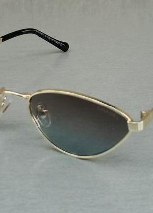 Chanel очки женские солнцезащитные модные кошечки серо синий градиент в золотом металле