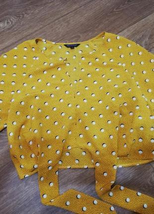 Блуза летняя кофта футболка в горох яркая на завязках с пуговице жёлтая топ