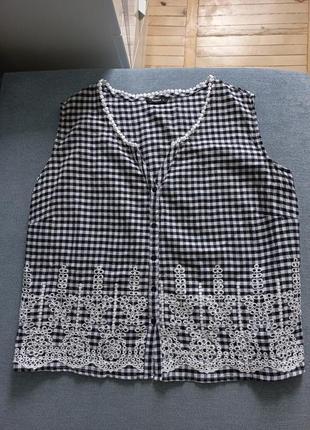 Блуза прошва хлопок шитье в клетку
