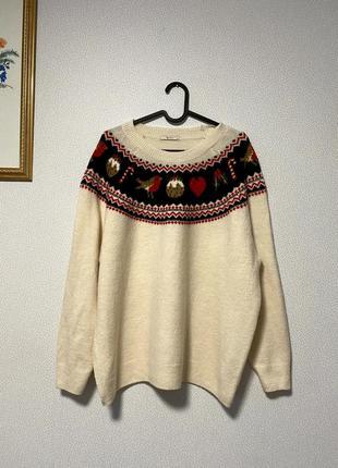 Мягкий свитер новогодние мотивы / большая распродажа!