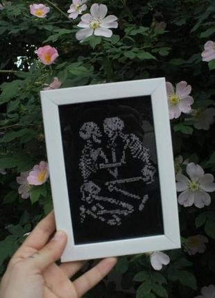 Вышитая картина готическая / влюбленные / скелеты / подарок на валентина