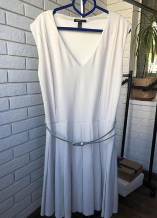 1+1=3 бежевое стильно платье -сарафан миди от бренда mango