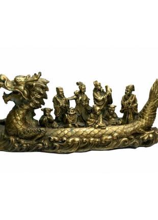 Статуэтка бронзовая лодка - дракон с восмью бессмертными