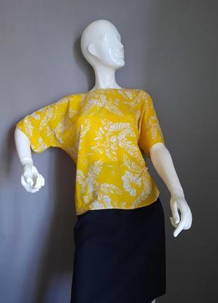 Яркий желтый топ блуза  тропический принт