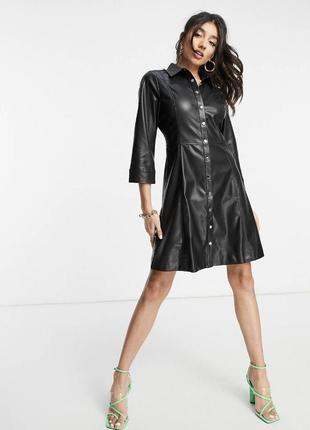 Mango faux leather shirt dress in black zara рубашка платье эко-кожа