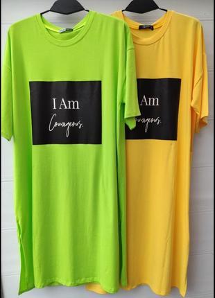 🔥стильное🔥 платье футболка хлопок принт турция2 фото