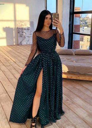 Изумрудное платье с сеткой со стразами