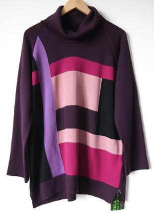 Удлиненный  свитер с асимметричным рисунком