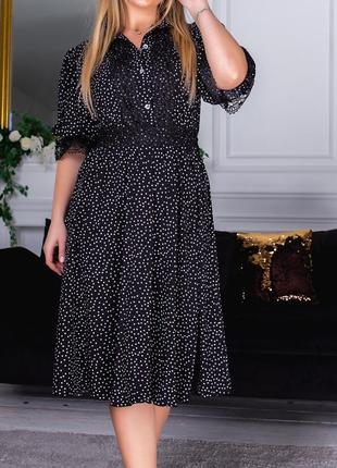 Платье миди горошек, черный цвет