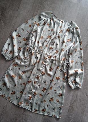 Сатиновое платье рубашка платье в горошек и цветочек большой размер