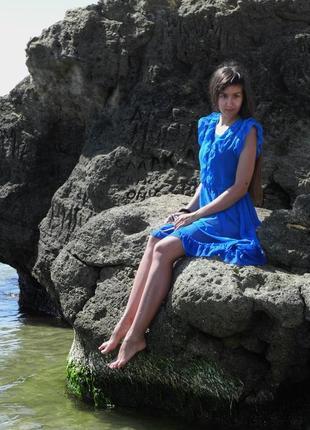 Синя вінтажна прозора сукня, с-м