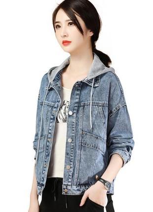 Джинсовка/джинсовая куртка с капюшоном