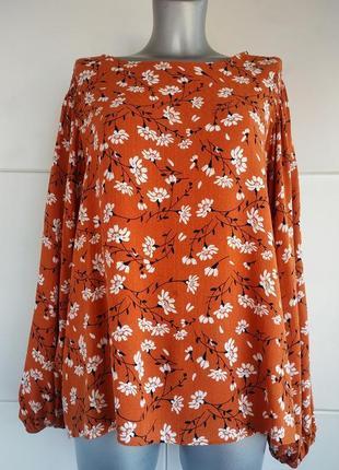 Блуза с принтом белых цветов большого размера, батал marks & spencer 1+1=3
