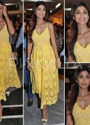 Желтое платье из кружева h&m