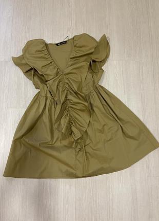 Платье рубашка туника хлопковая с воланами