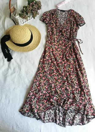 Сарафан, сукня міді на запах в квіти f&f