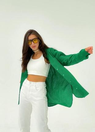 Зелёная льняная рубашка много расцветок
