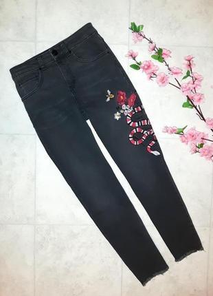 1+1=3 узкие зауженные джинсы скинни с вышивкой hallhuber, высокая посадка, размер 44 - 46