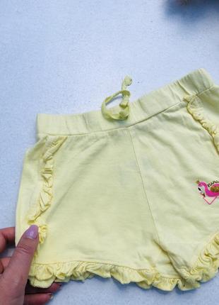 Шорты желтые фламинго