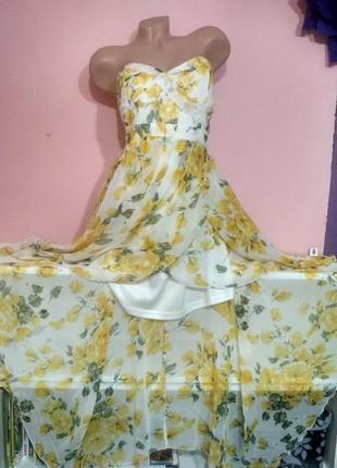 Шикарное летнее шифоновое платье со шлейфом на запах