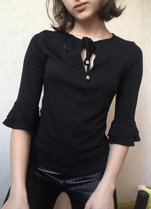 Кофта чёрная с укорочёнными рукавами