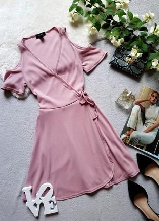 Платье на запах в рубчик пудрового цвета new look сукня рожева плаття