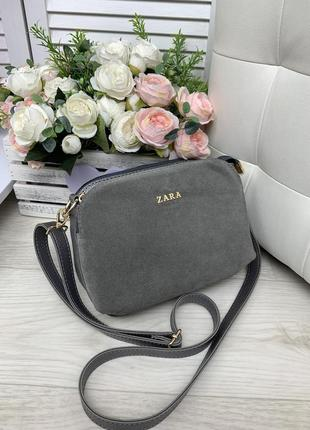 Женская сумка клатч серый замшевый три отделения