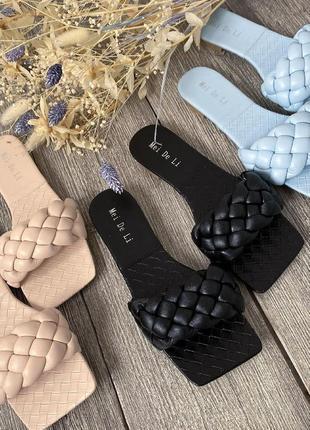 Косичка шлепанцы 🥥🥝 коса плетенка сабо мюли сланцы шльопки