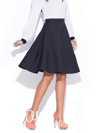 1+1=3 базовая плотная серая юбка по колено на высокой посадке, размер 44 - 46