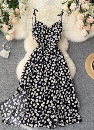 Платье миди на бретелях принт ромашка