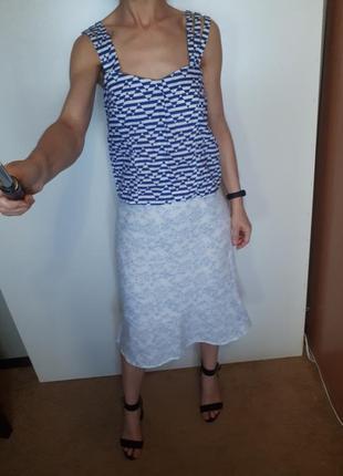 Супер юбка миди лен нежный принт