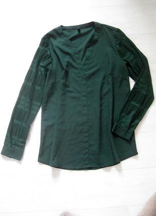 Блуза pulz jeans насыщенного тёмно зелёного цвета с декоративным рукавом