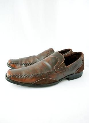 Стильные фирменные классические кожаные туфли stasy adams. размер 10/44-45.