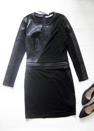 Облегающее короткое чёрное платье aaiko с эко кожей