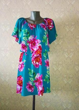 Красивое шифоновое платье в цветы papaya s/m