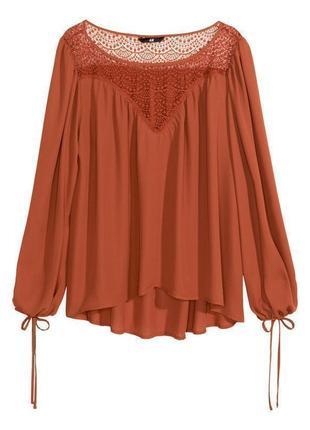 Блуза модная с кружевной кокеткой свободного кроя h&m uk 16/44/xl