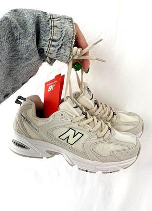 Классные трендовые женские кроссовки new balance 530 beige бежевые