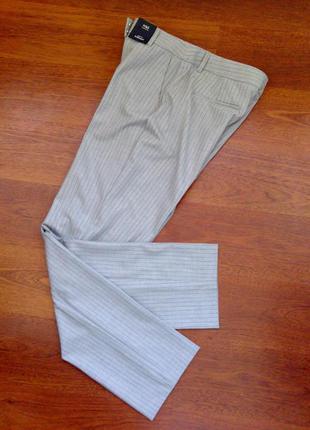 40р. светло-серые брюки в полоску, офисная классика